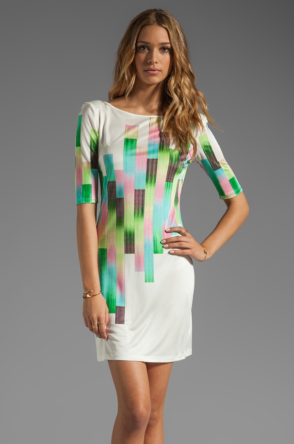 Catherine Malandrino Short Sleeve Printed Shift Dress in Sunrise Strokes
