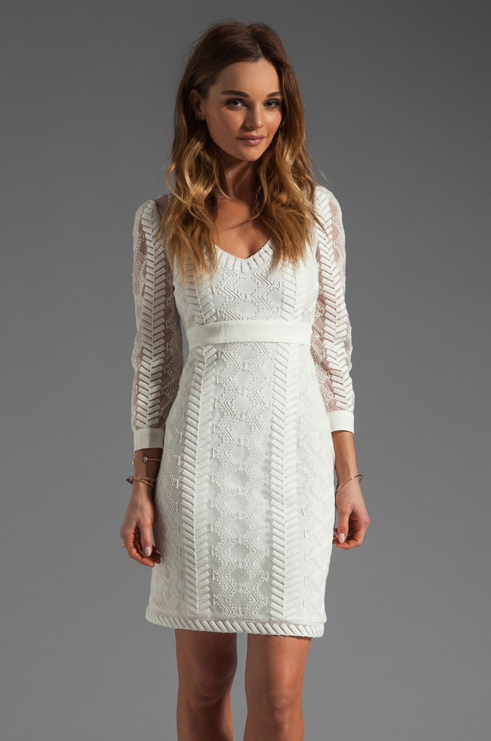Catherine Malandrino Cord Embroidery Dress in Ivory