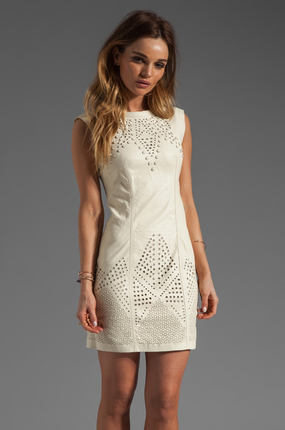 Catherine Malandrino Perforated Leather Dress in Ivory