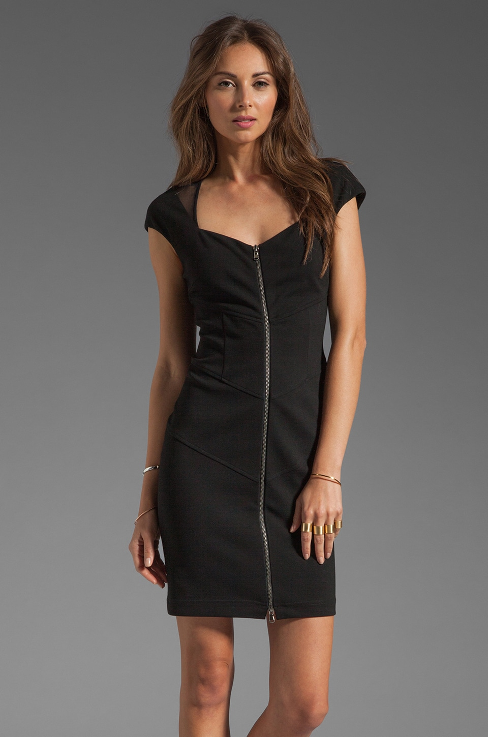 Catherine Malandrino Cap Sleeve Front Zip Dress in Black