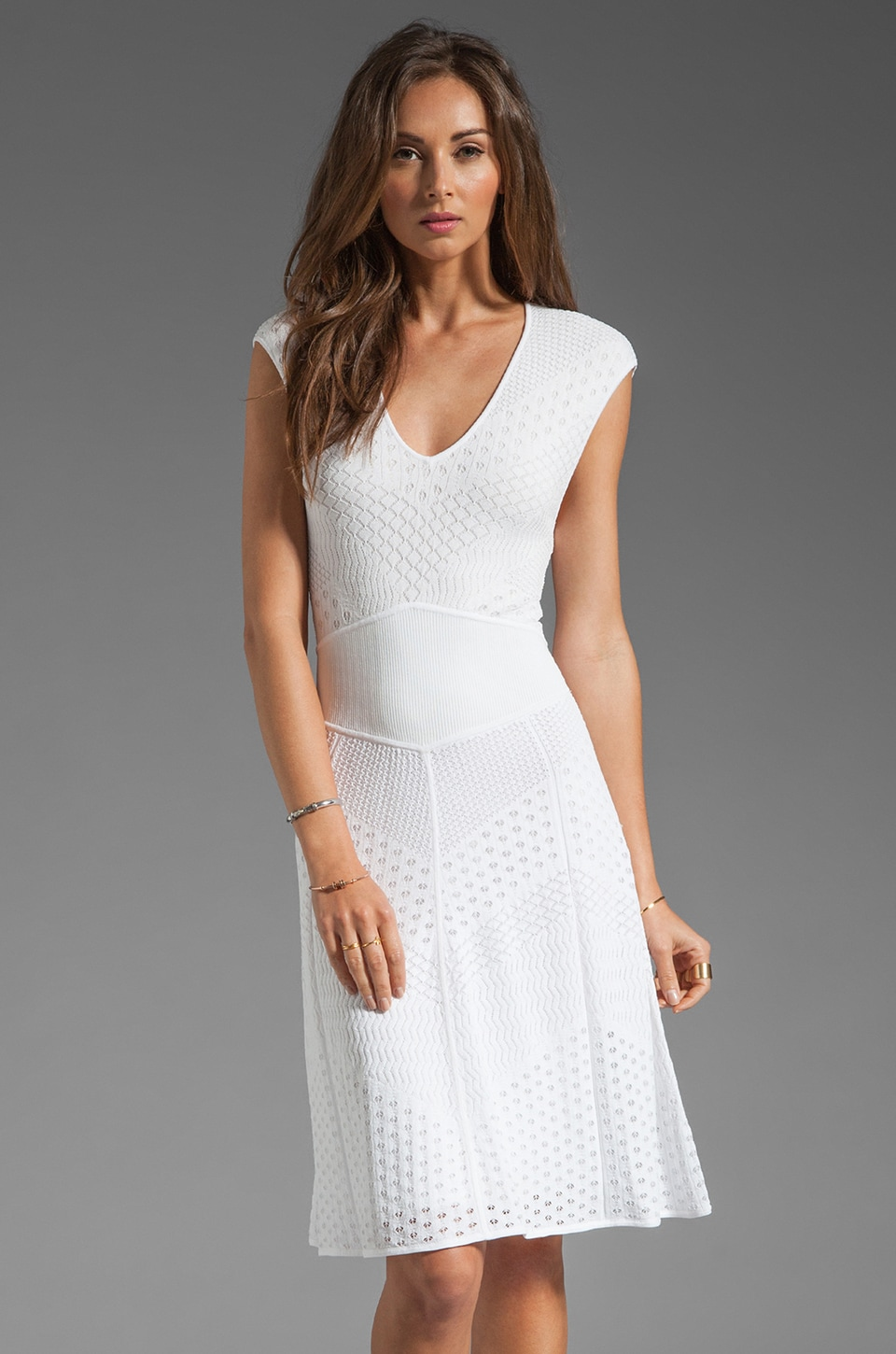 Catherine Malandrino Multi A Line Pointelle Dress in Blanc