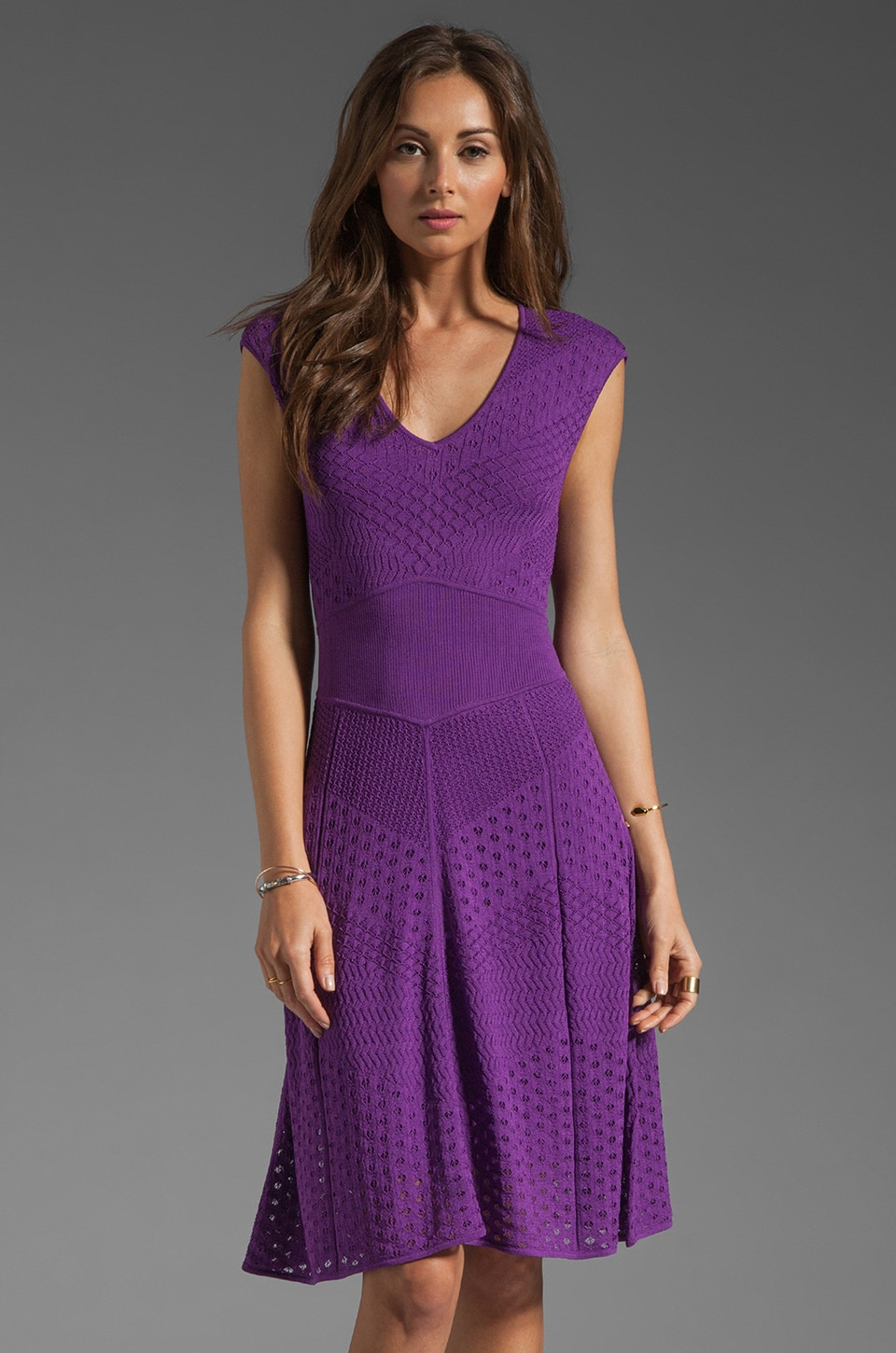 Catherine Malandrino Multi A Line Pointelle Dress in Lilac