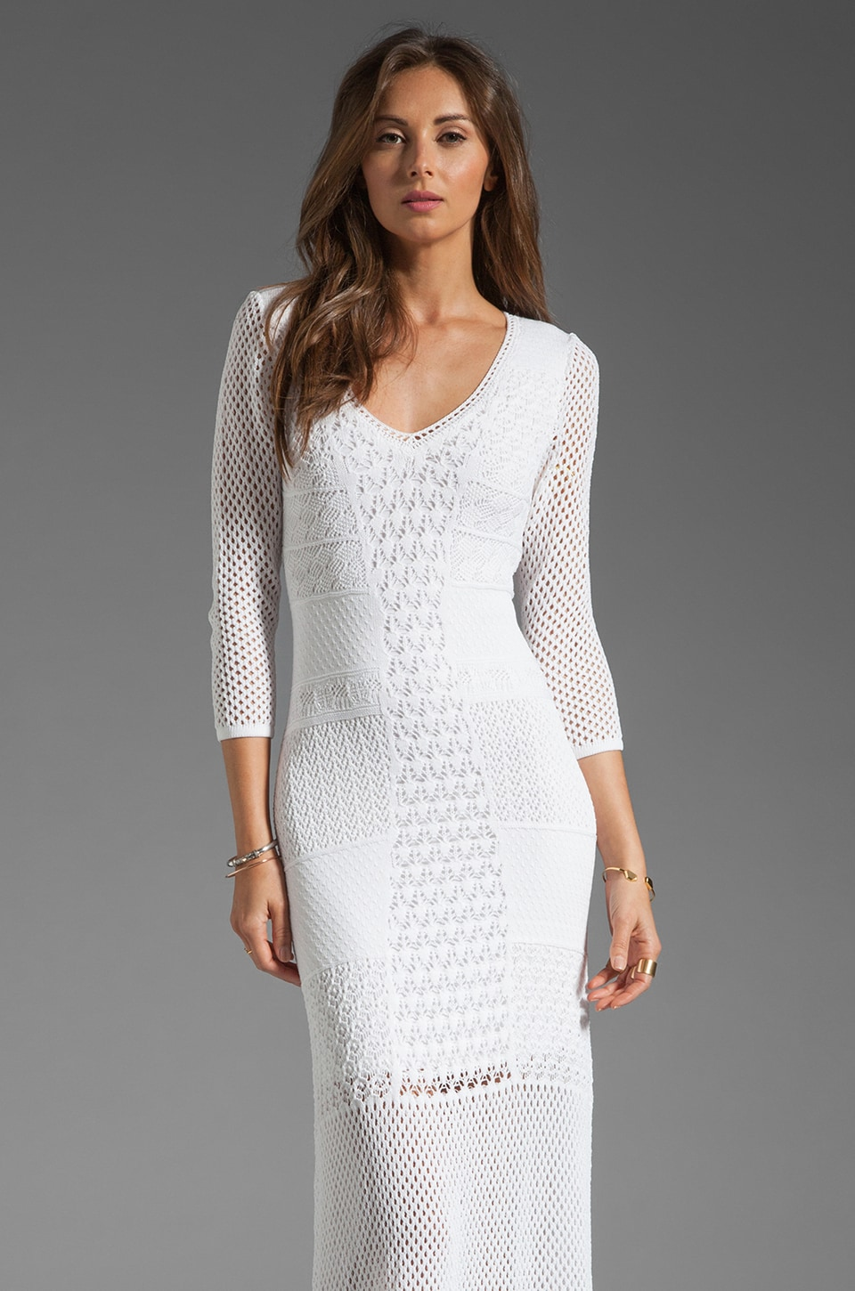 Catherine Malandrino Crochet Maxi Dress in White