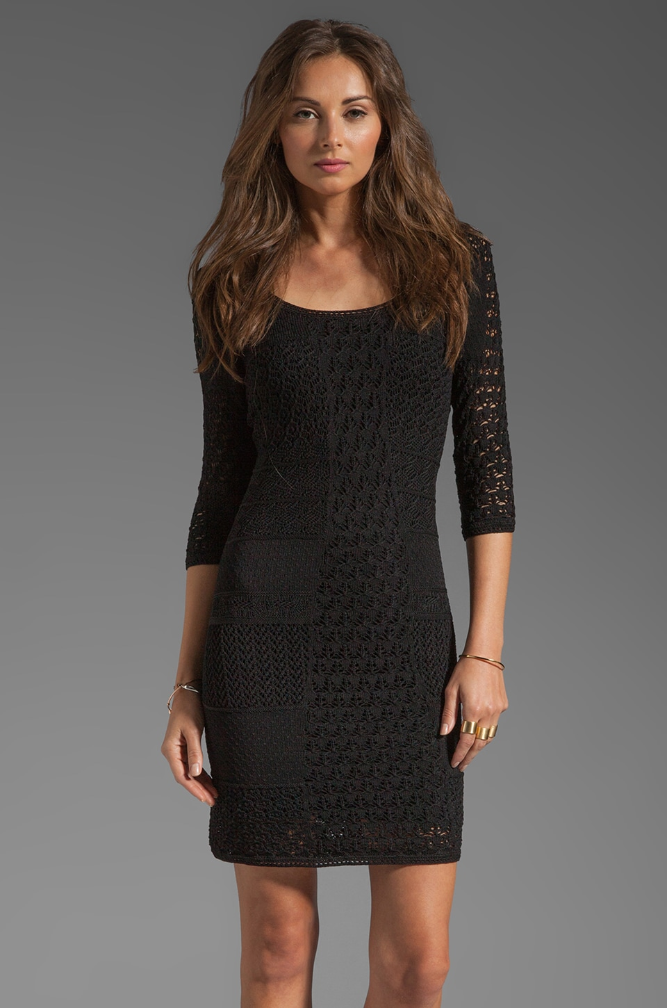 Catherine Malandrino Crochet Scoop Neck Dress in Black
