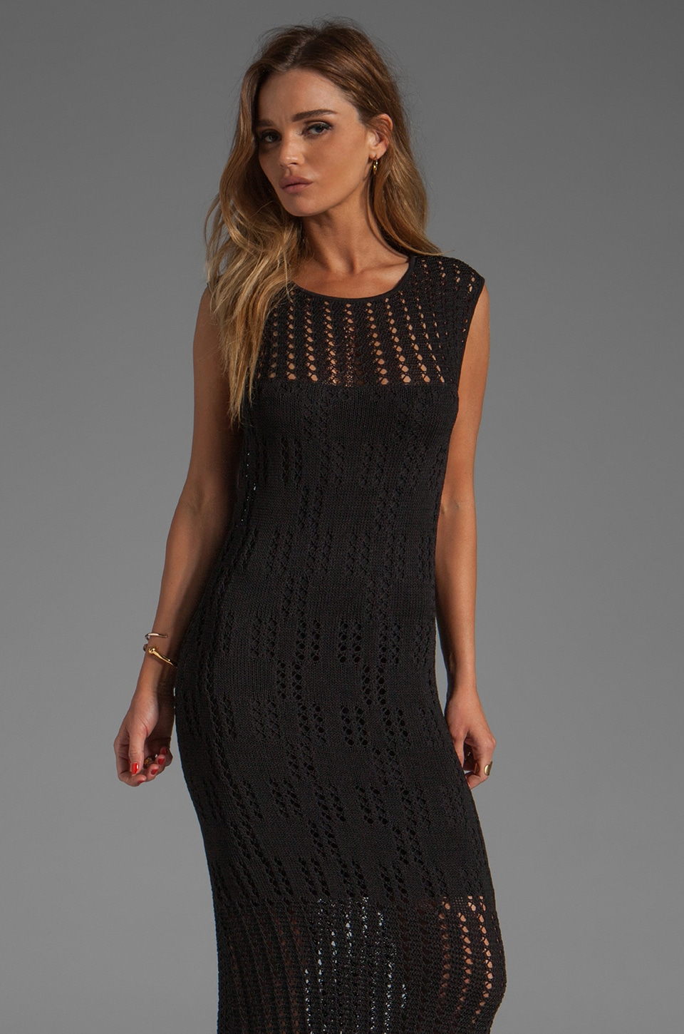 Catherine Malandrino Long Cap Sleeve Pointelle and Crochet Dress in Noir