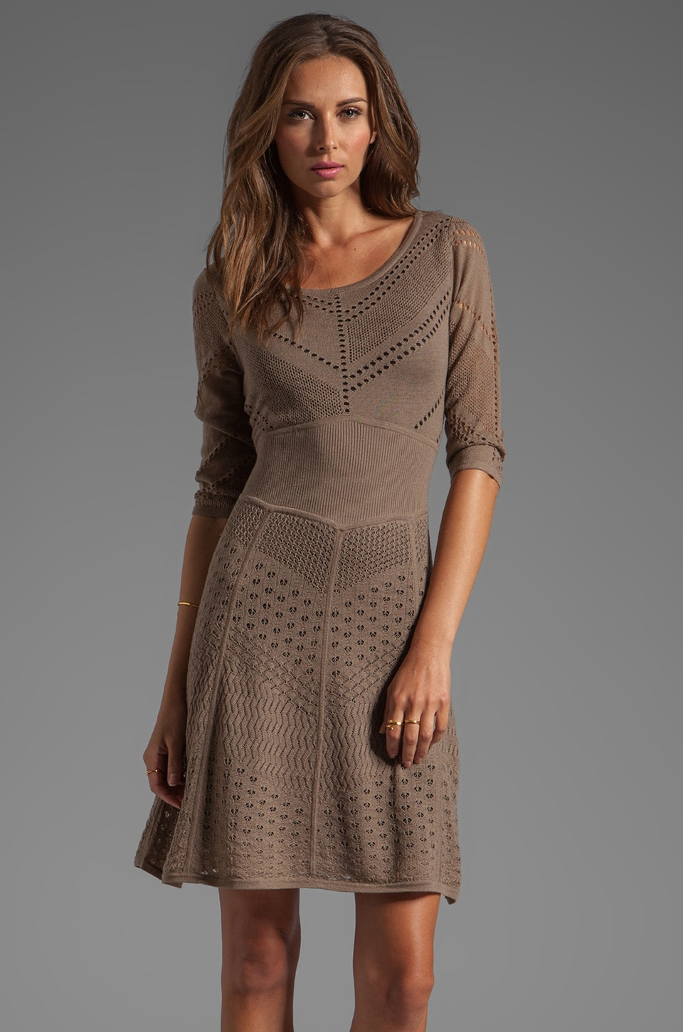 Catherine Malandrino Favorites 3/4 Sleeve Mixed Pointelle Dress in Rock
