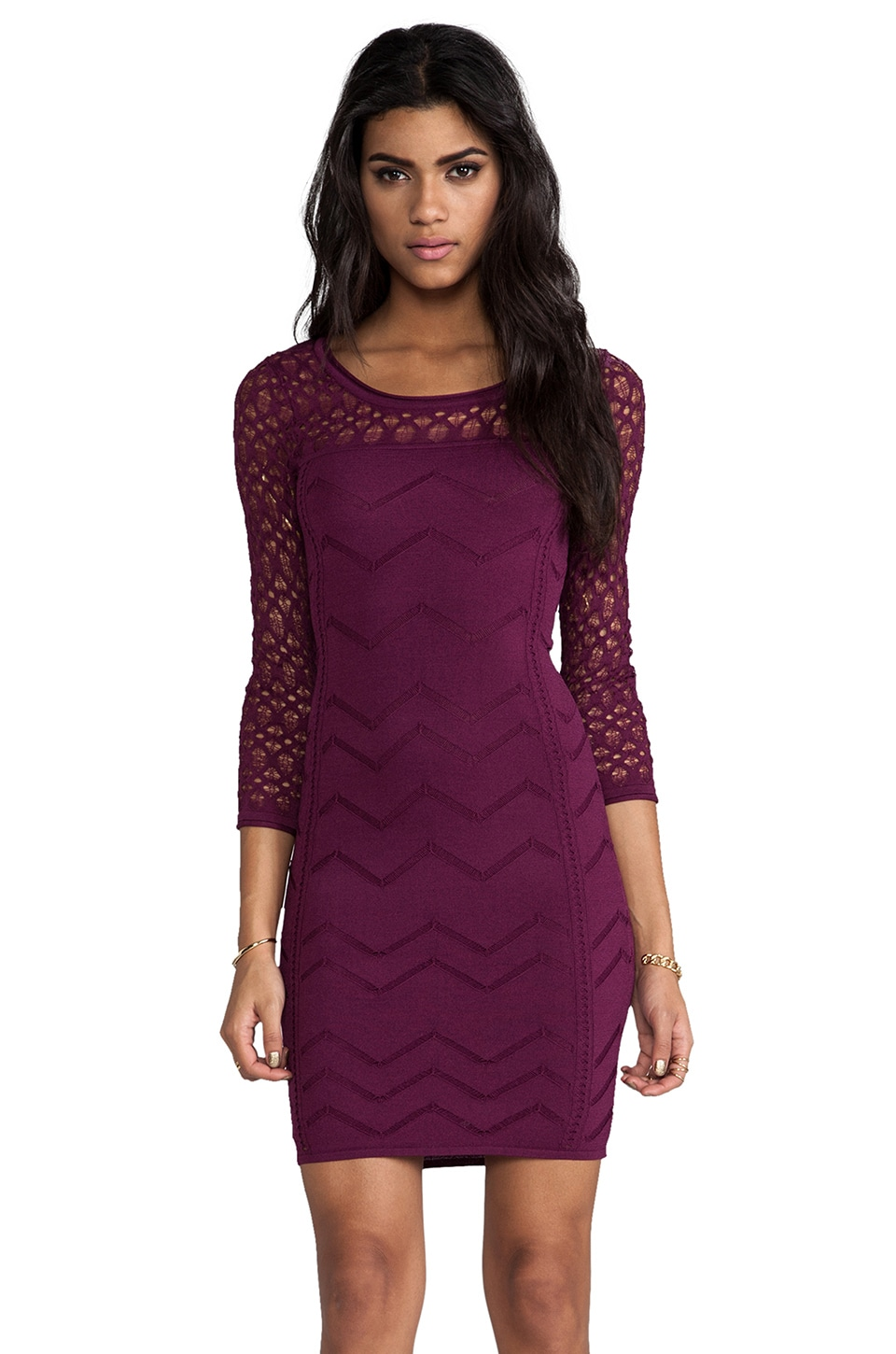Catherine Malandrino Agnes Long Sleeve Pointelle Dress in Raspberry