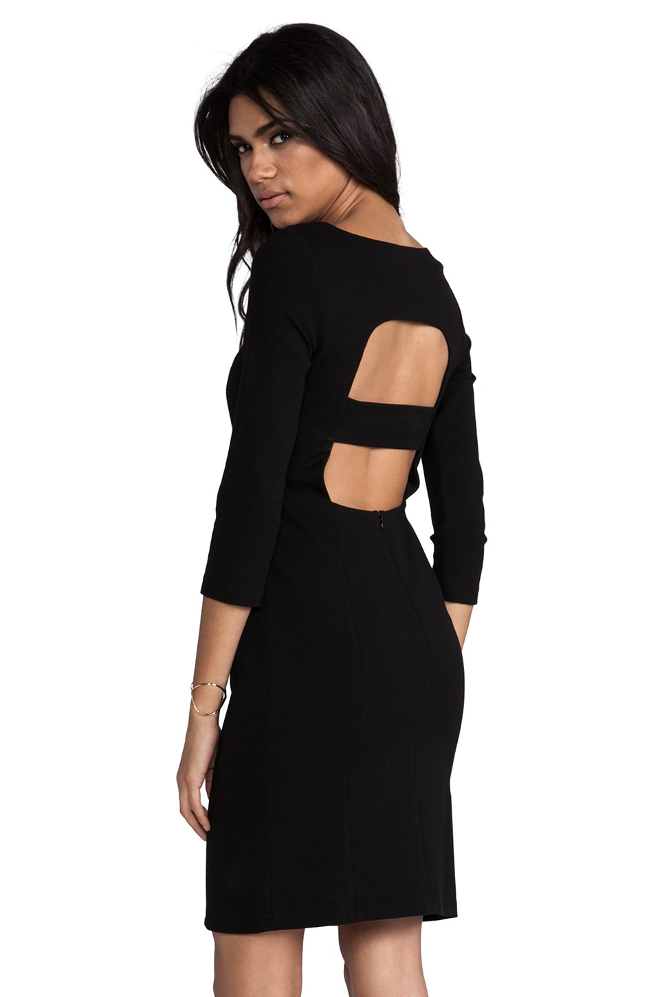 Catherine Malandrino Afra Cut Out Long Sleeve Ponte Dress in Noir