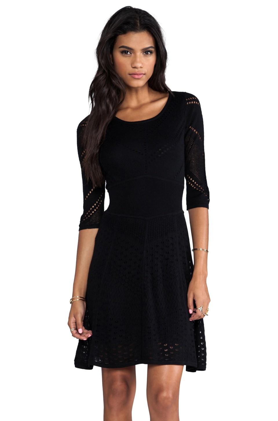 Catherine Malandrino Favorites 3/4 Sleeve Mixed Pointelle Dress in Noir