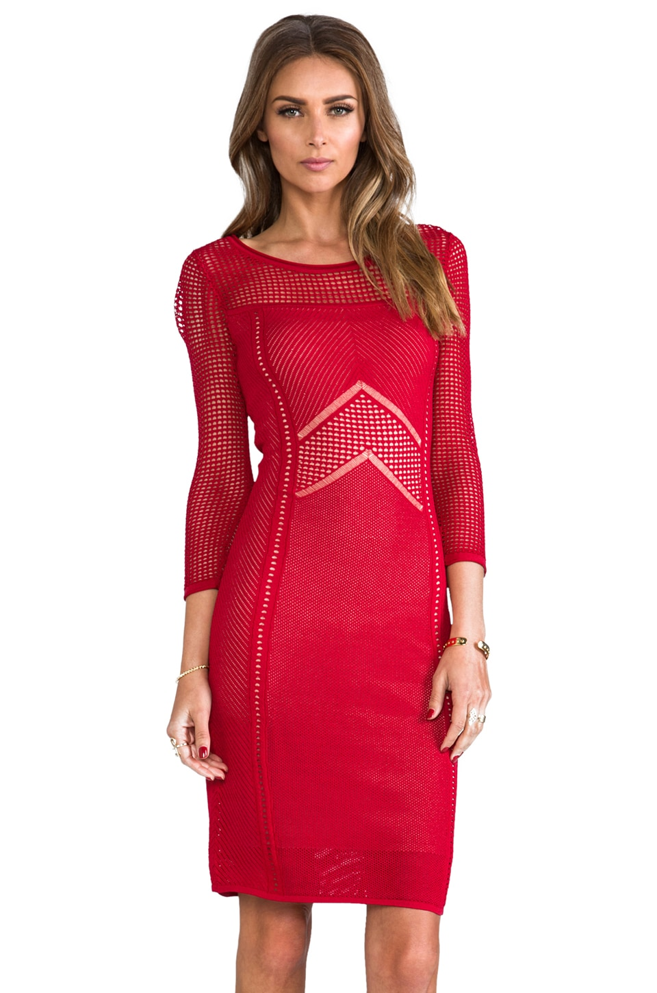 Catherine Malandrino Brooke Pointelle Dress in Vermilion