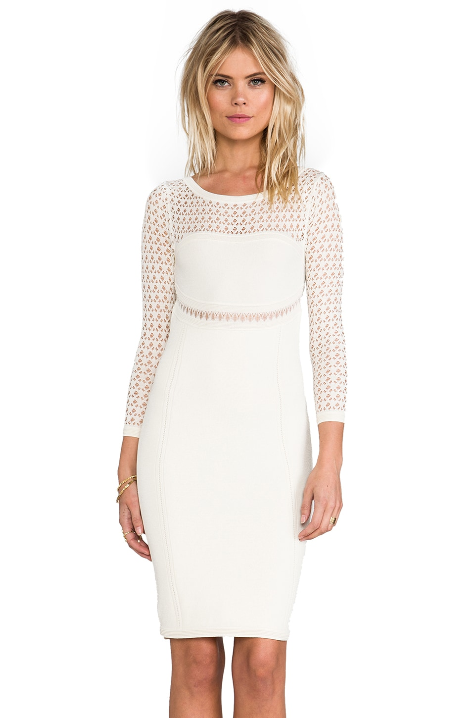 Catherine Malandrino Brooklyn Pointelle Dress in Ivory