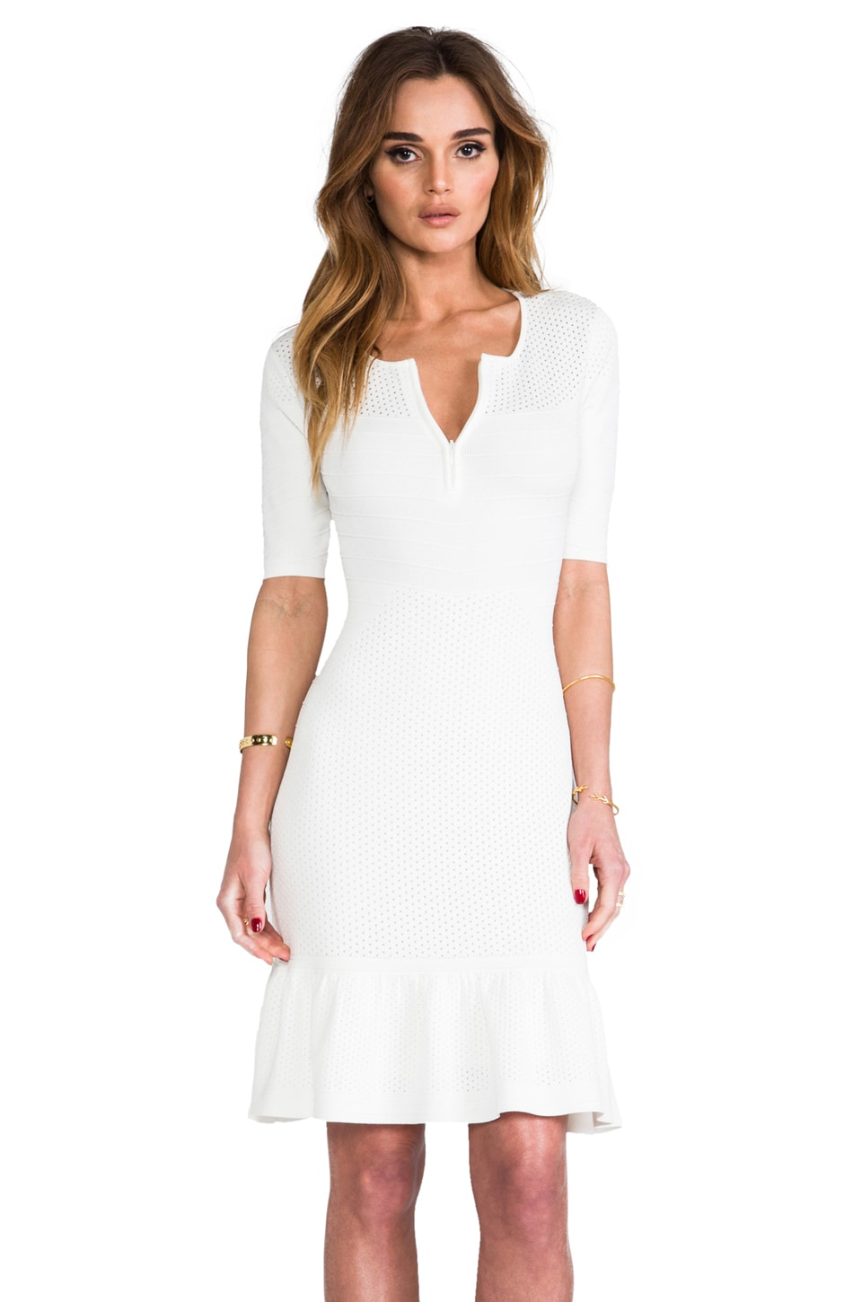 Catherine Malandrino Claire Zip Front Dress in Ivory