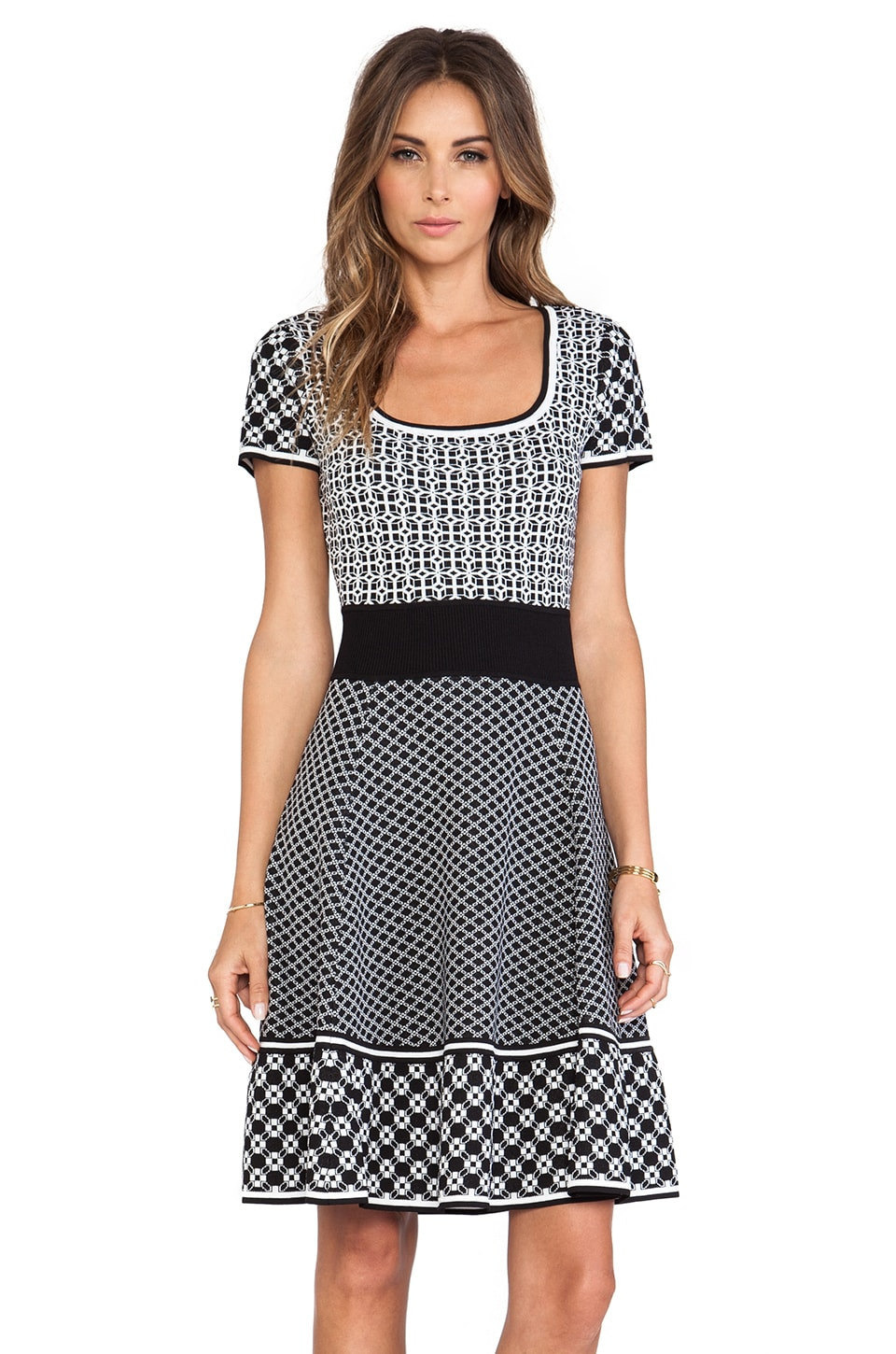 Catherine Malandrino Genevieve Fit & Flare Knit Jacquard Dress in Noir & Blanc