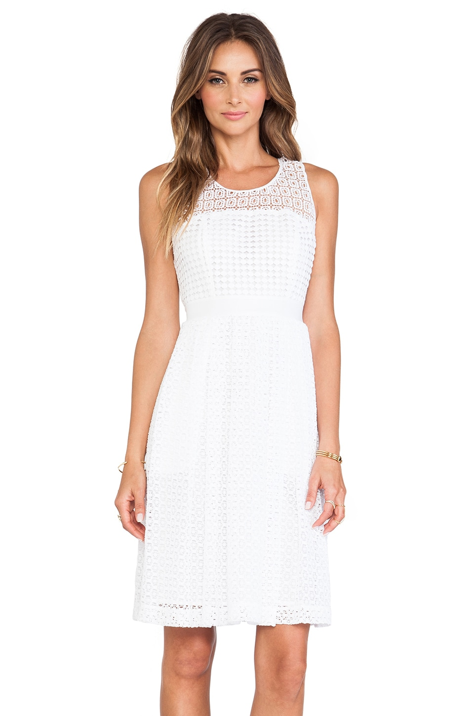 Catherine Malandrino Geri Racerback Fit & Flare Lace Dress in Blanc