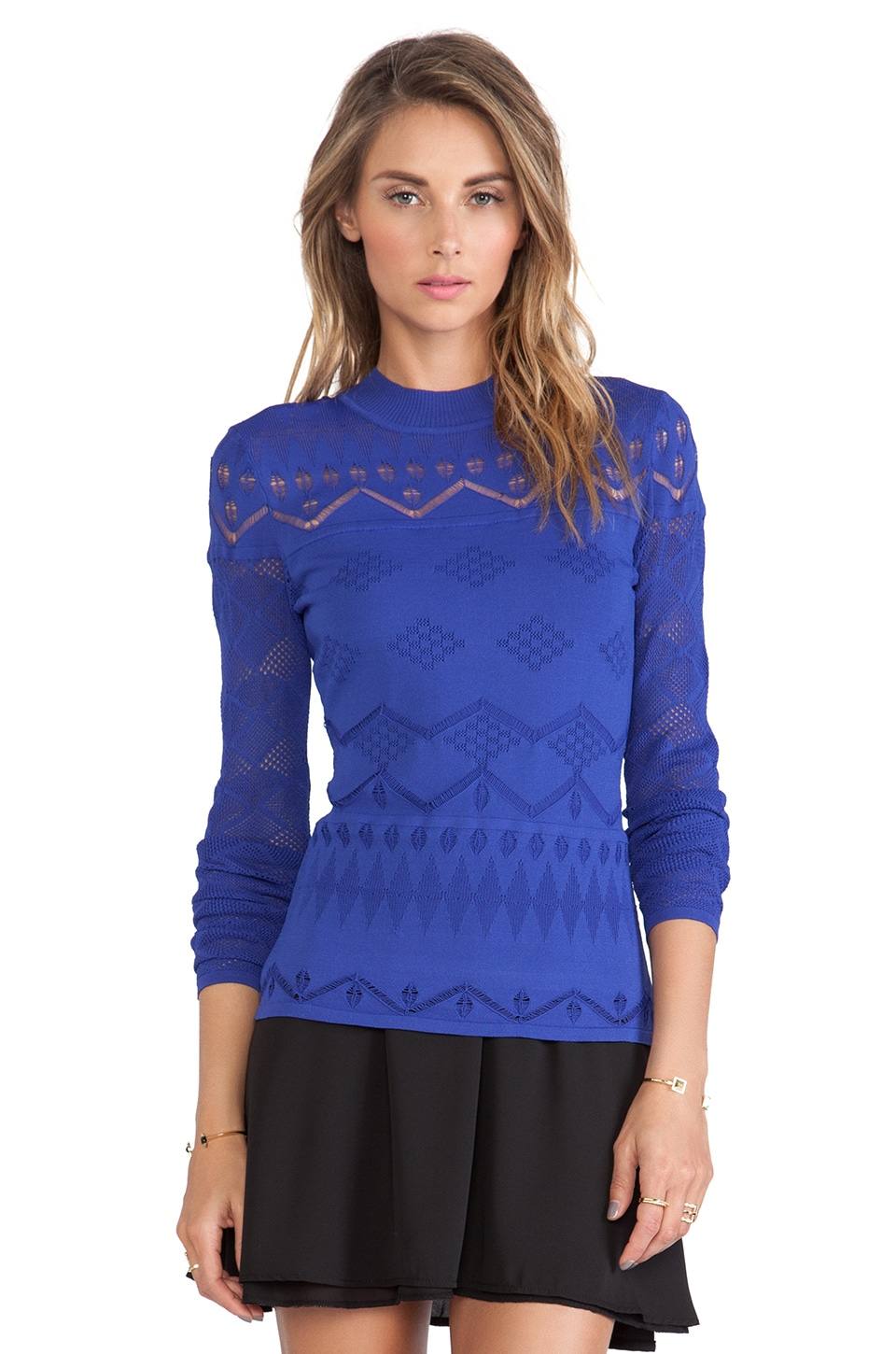 Catherine Malandrino Jackie Mock Turtleneck Sweater in Cadet