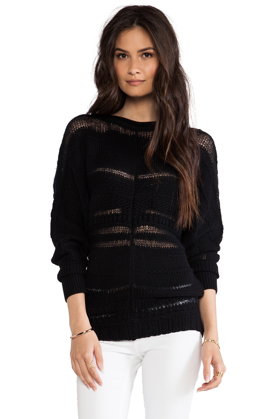 Catherine Malandrino Abijah Wool Boatneck Sweater in Noir