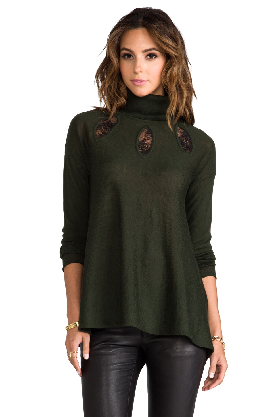 Catherine Malandrino Armada Wool Turtleneck Sweater in Evergreen/Noir
