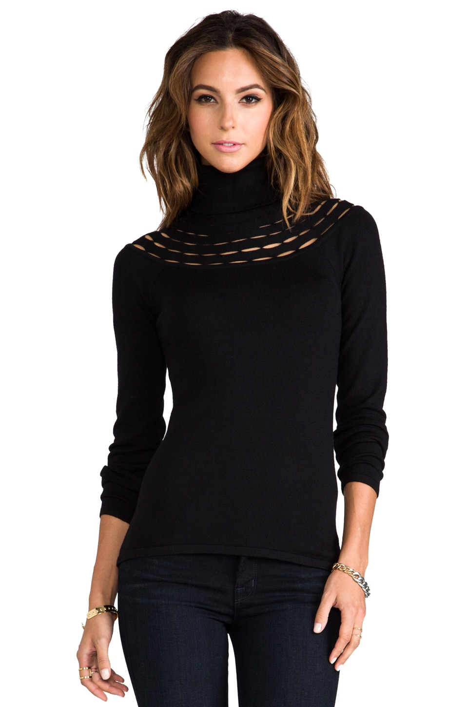 Catherine Malandrino Armelle Wool Turtleneck Sweater in Noir