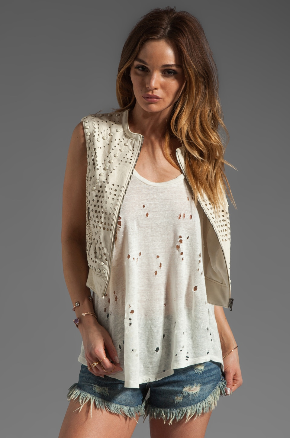 Catherine Malandrino Perforated Leather Vest in Ivory