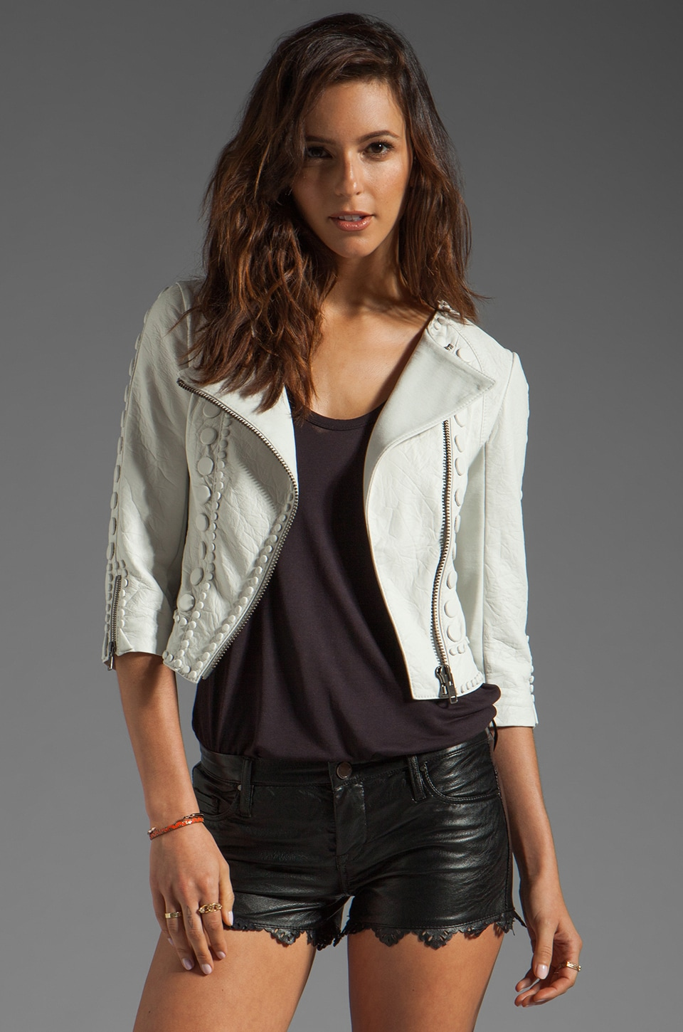 Catherine Malandrino Embellished Cropped Leather Jacket in Blanc