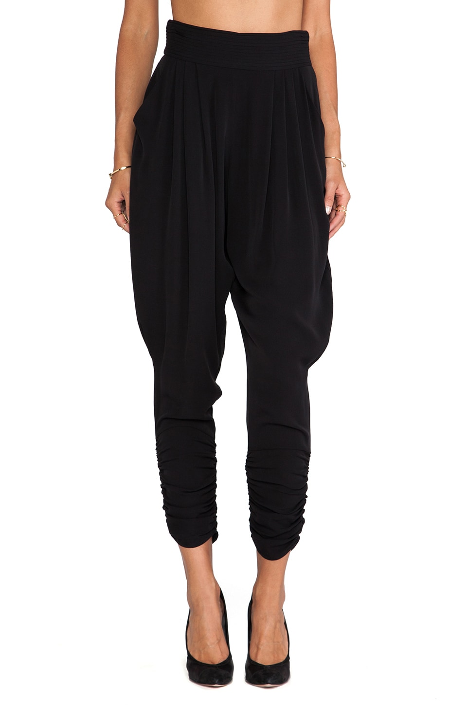 Catherine Malandrino Gisella Draw String Harem Pants in Noir