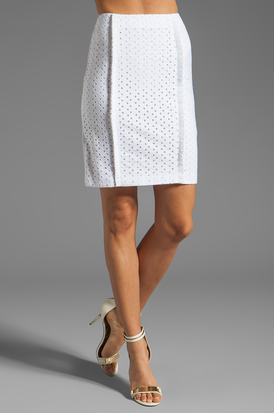 Catherine Malandrino Eyelet Pencil Skirt in Blanc
