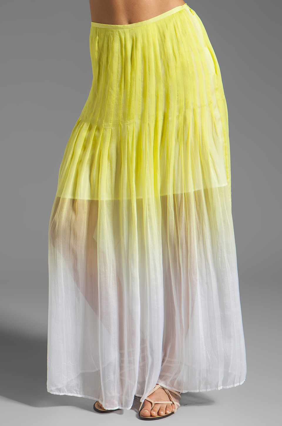 Catherine Malandrino Pleated Maxi Skirt in Absinthe