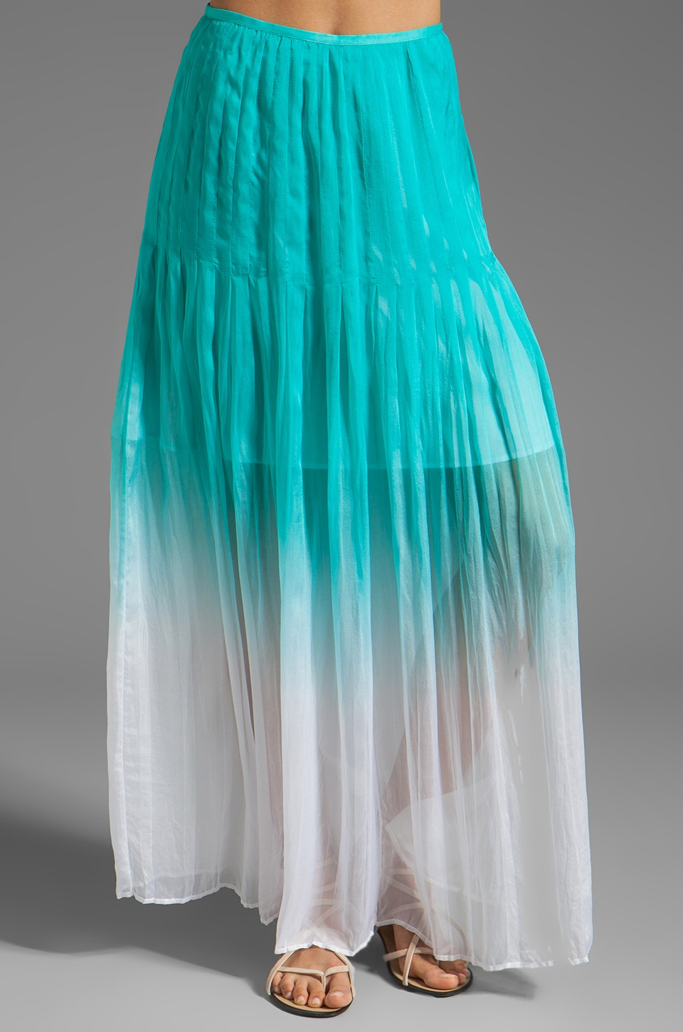 Catherine Malandrino Pleated Maxi Skirt in Appletini
