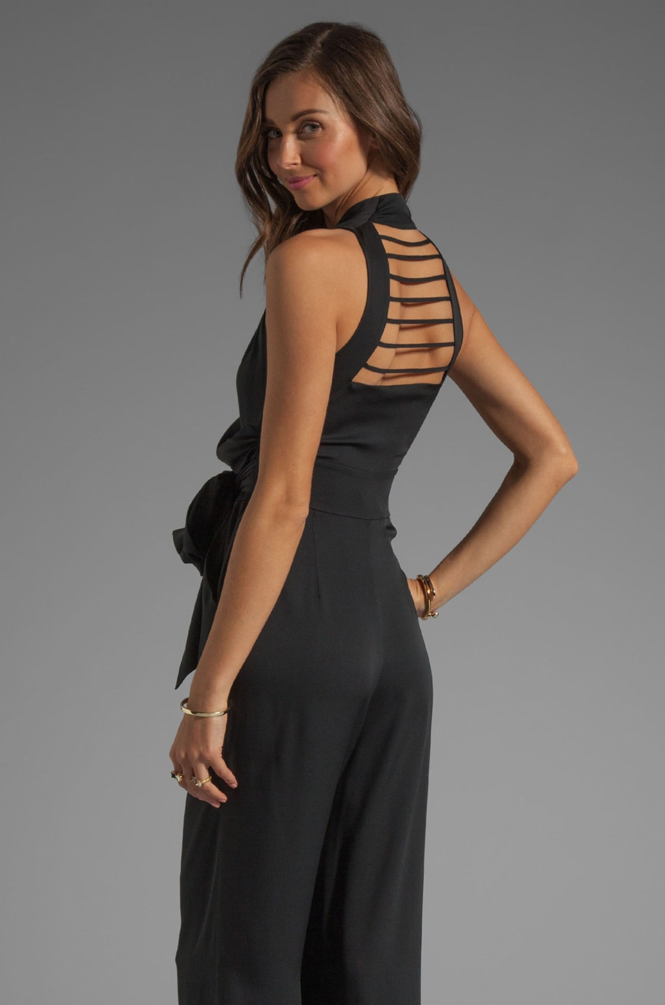 Catherine Malandrino String Back Jumpsuit in Black