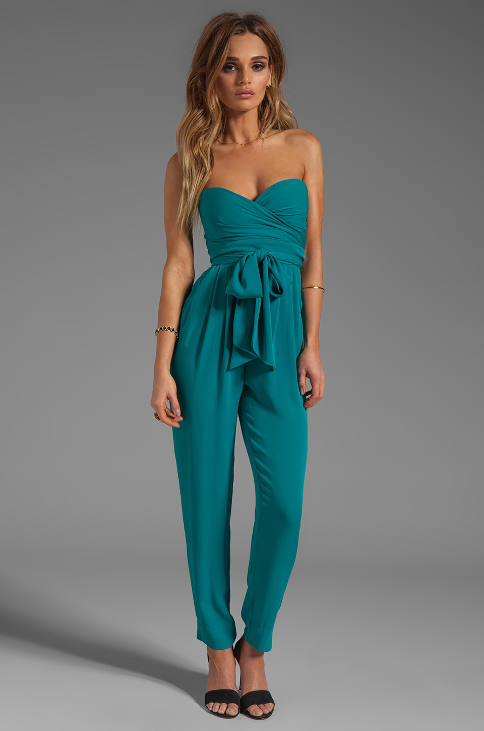 Catherine Malandrino Strapless Bustier Jumpsuit in Belize