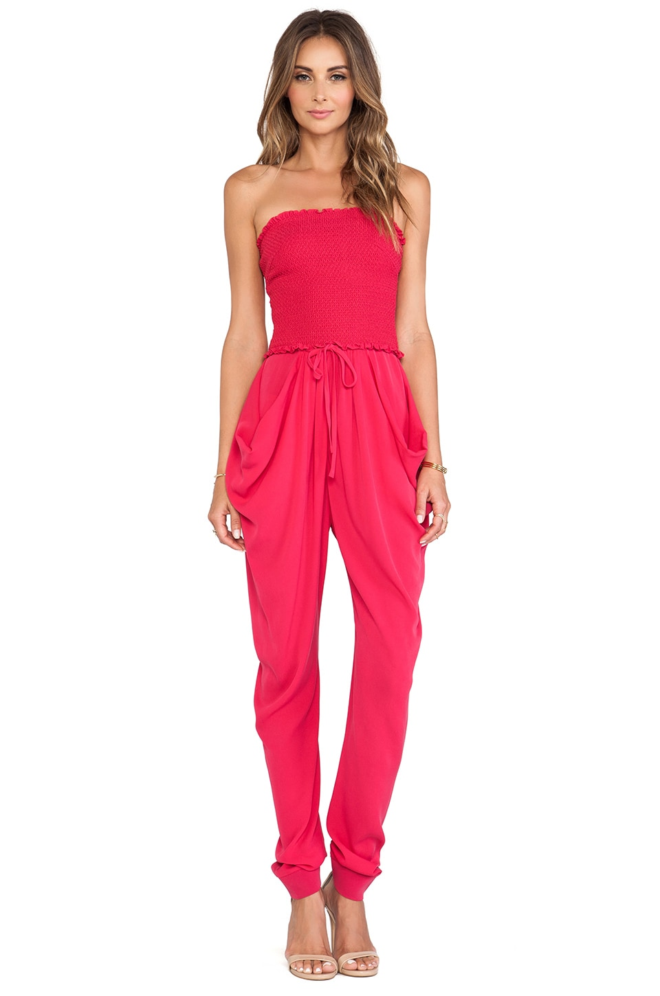 Catherine Malandrino Finesse Strapless Jumpsuit in Geranium