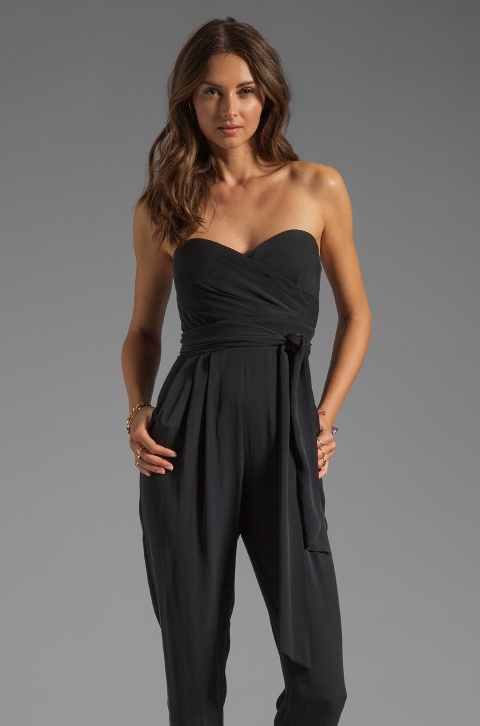 Catherine Malandrino Strapless Jumpsuit in Noir