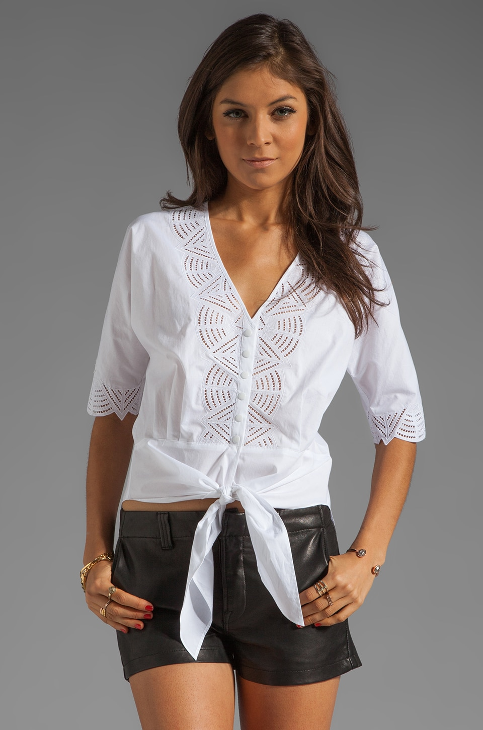 Catherine Malandrino 3/4 Sleeve Cotton Blouse with Geometric Cut Out in Blanc