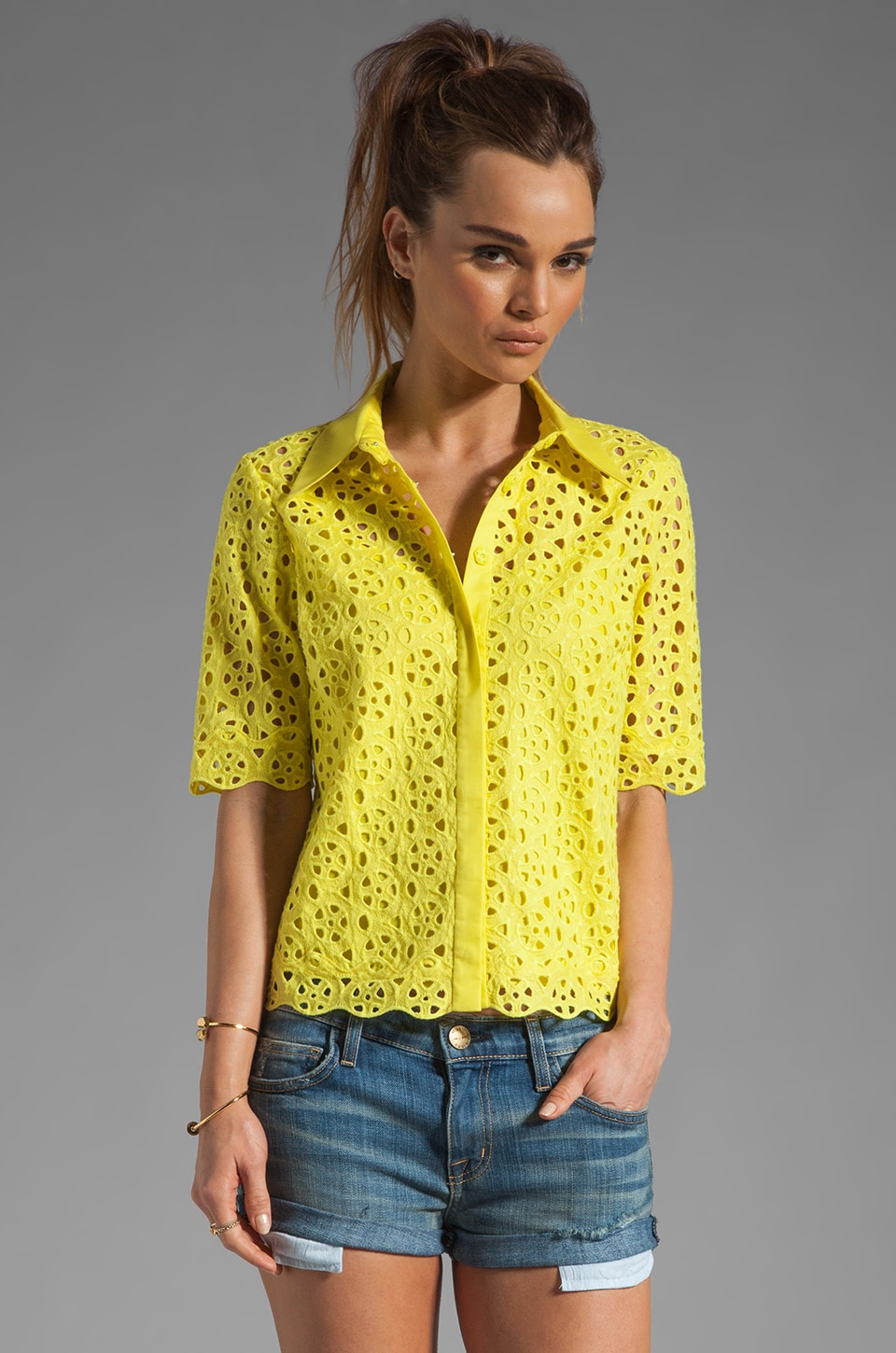 Catherine Malandrino Short Sleeve Collared Shirt in Pernot
