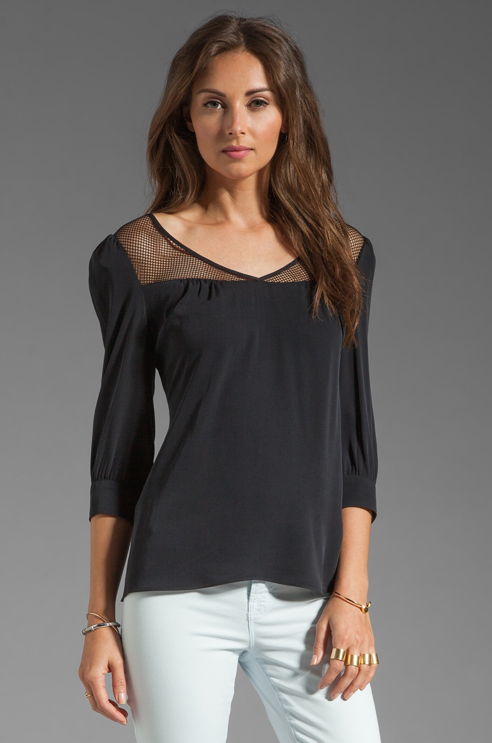 Catherine Malandrino V Neck Blouse in Black