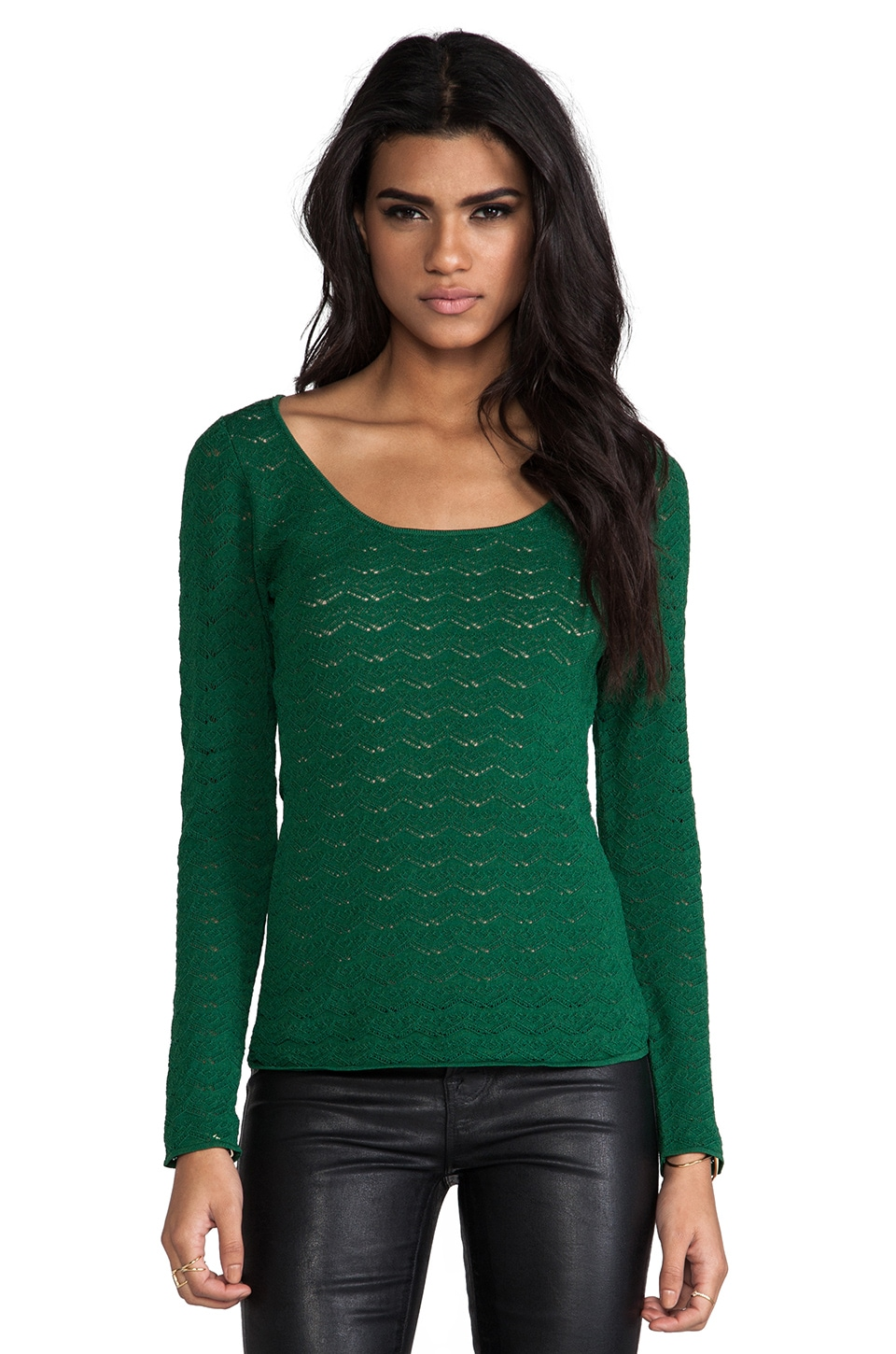 Catherine Malandrino Abbey Pointelle Top in Pine