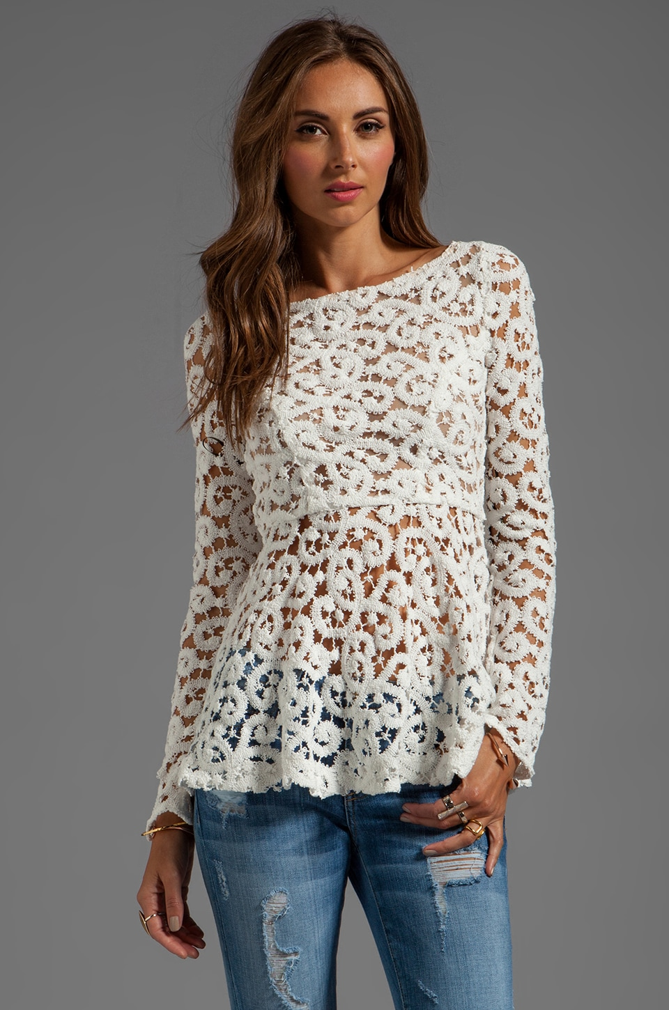 Catherine Malandrino BLACK LABEL Quantum Lace Top in Ivory