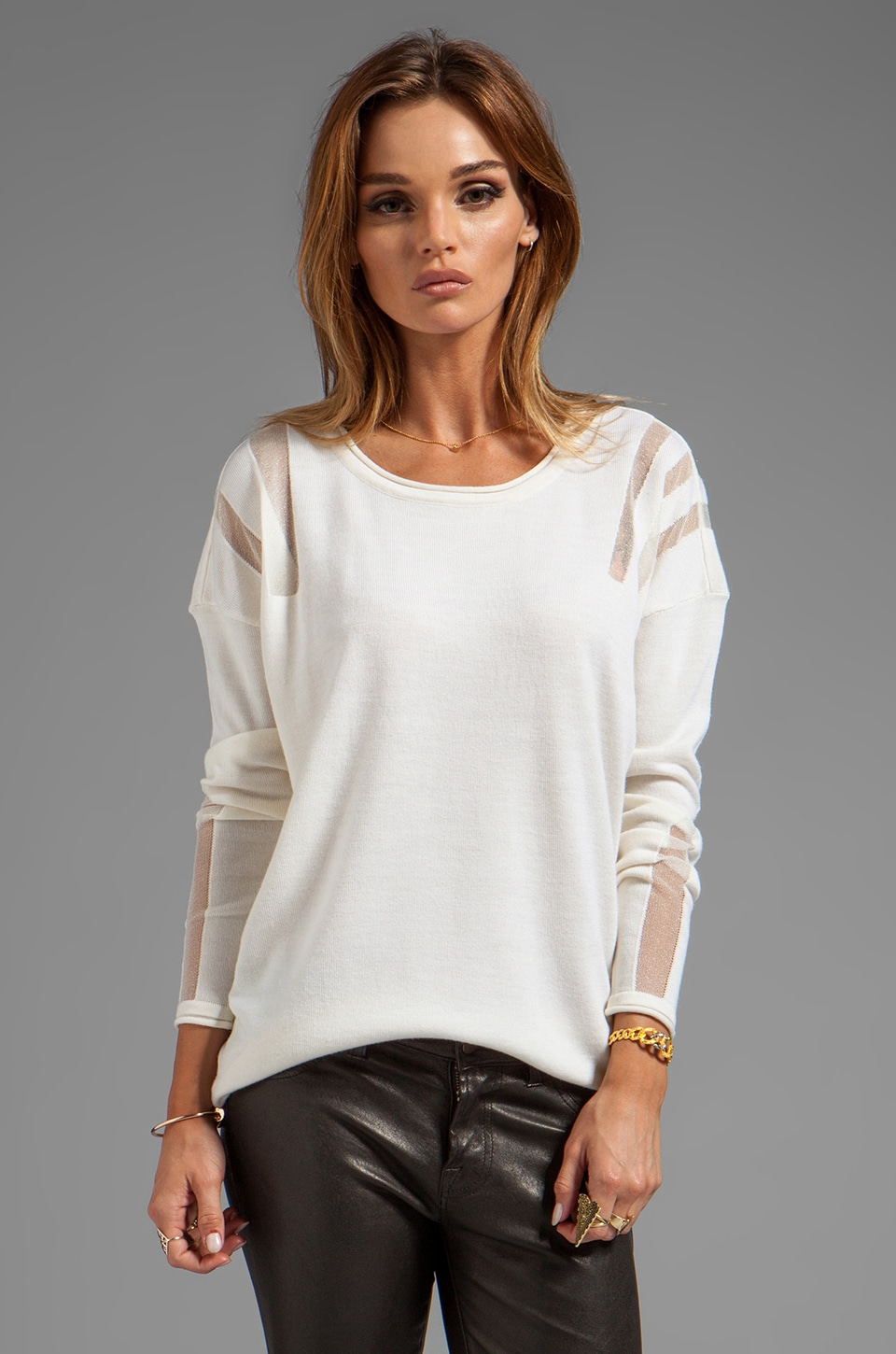 Catherine Malandrino Aviva Long Sleeve Pointelle Top in Ivory