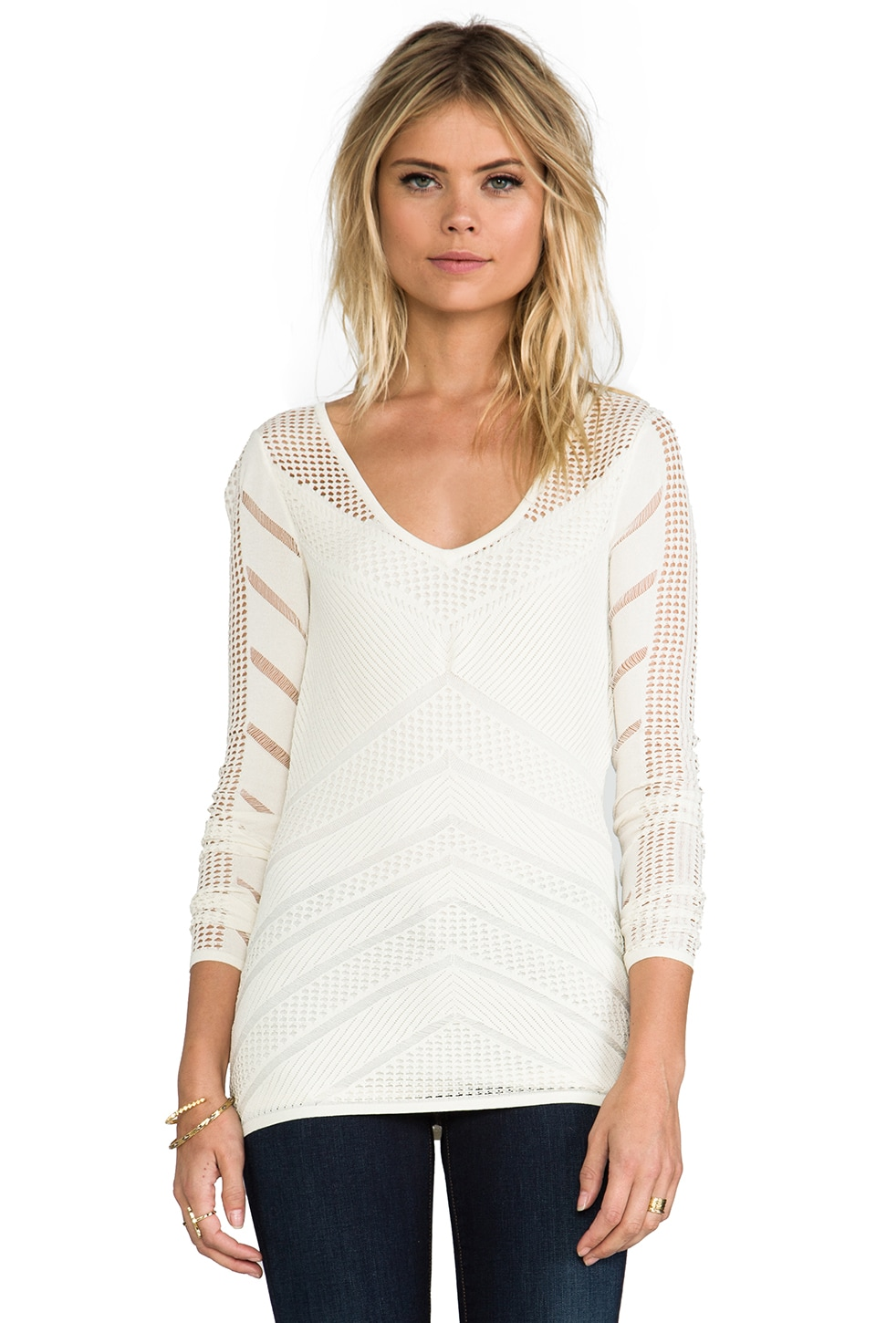Catherine Malandrino Belle Pointelle Top in Ivory