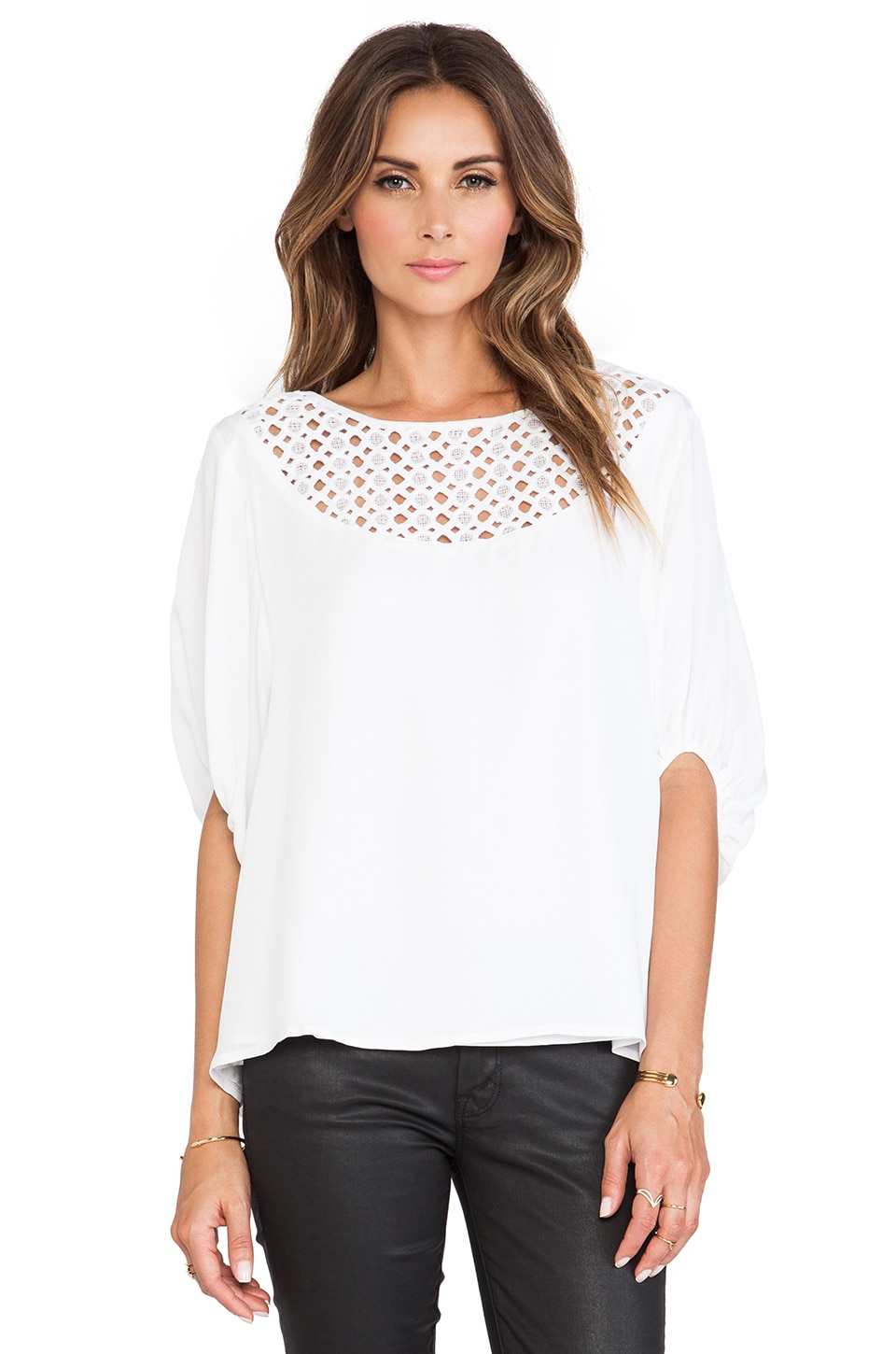 Catherine Malandrino Galena Drop Shoulder Oversized Silk Blouse in Blanc