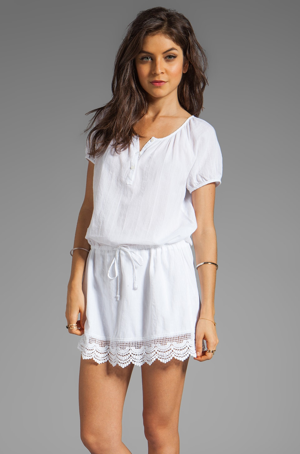 C&C California Textured Cotton Short Sleeve Split Neck Dress With Lace in White