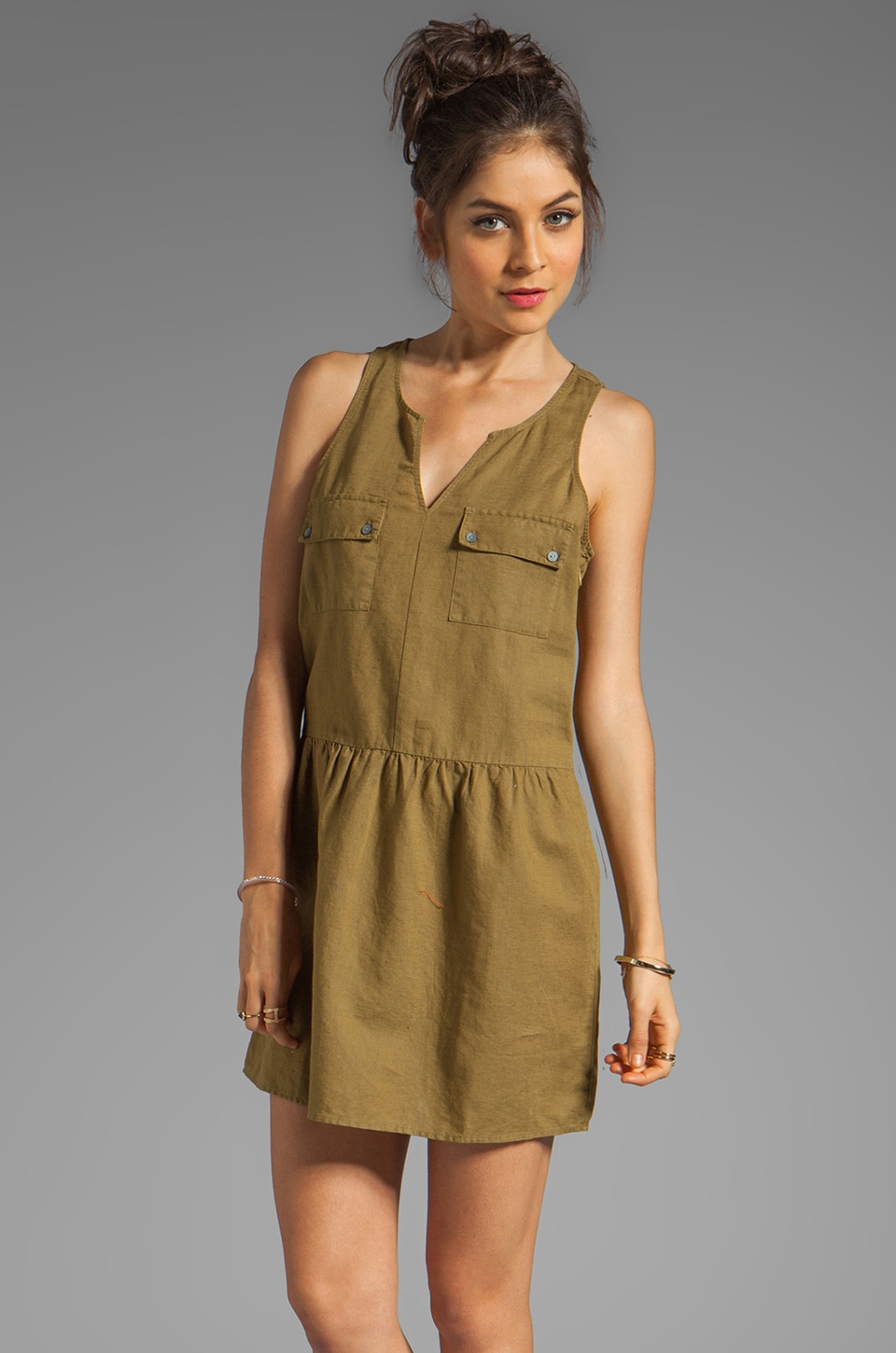 C&C California Linen Cotton Safari Split Neck Tank Dress in Nutria