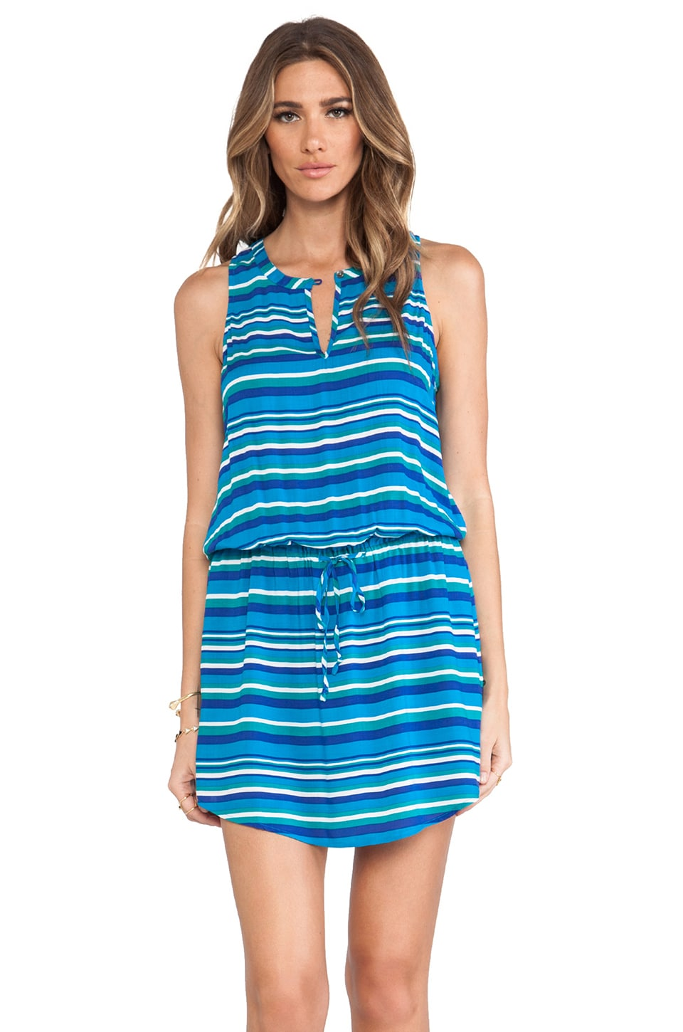C&C California Playa Stripe Rayon Split Neck Tank Dress in Peacock