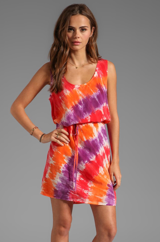 C&C California Bemberg Circle Tie Dye Tank Dress in Solar Red