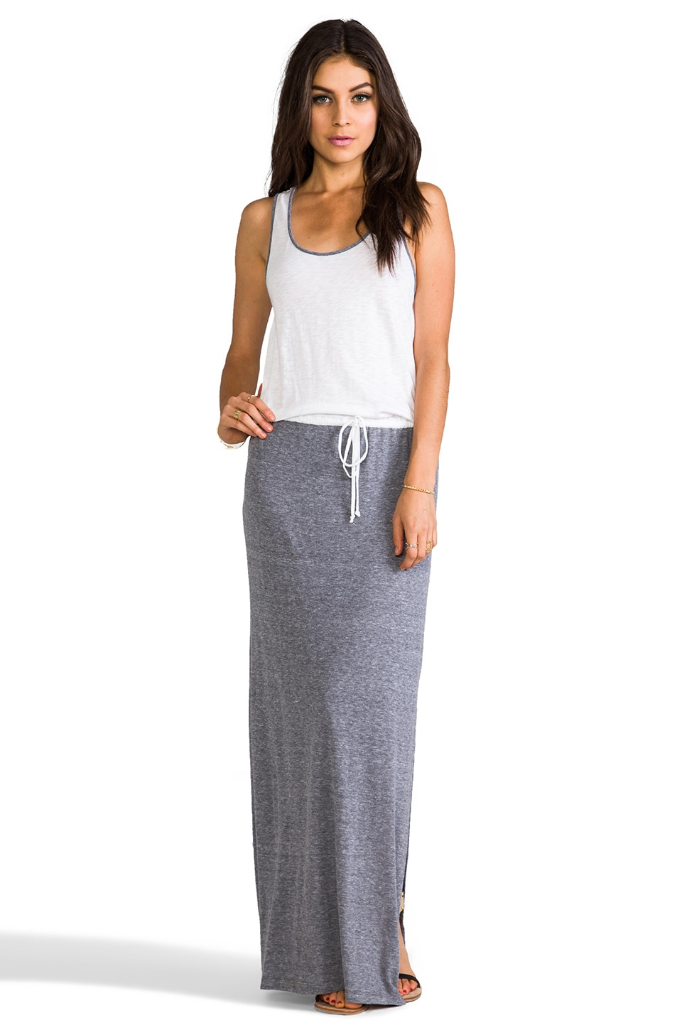 C&C California Racer Back Maxi Dress in White