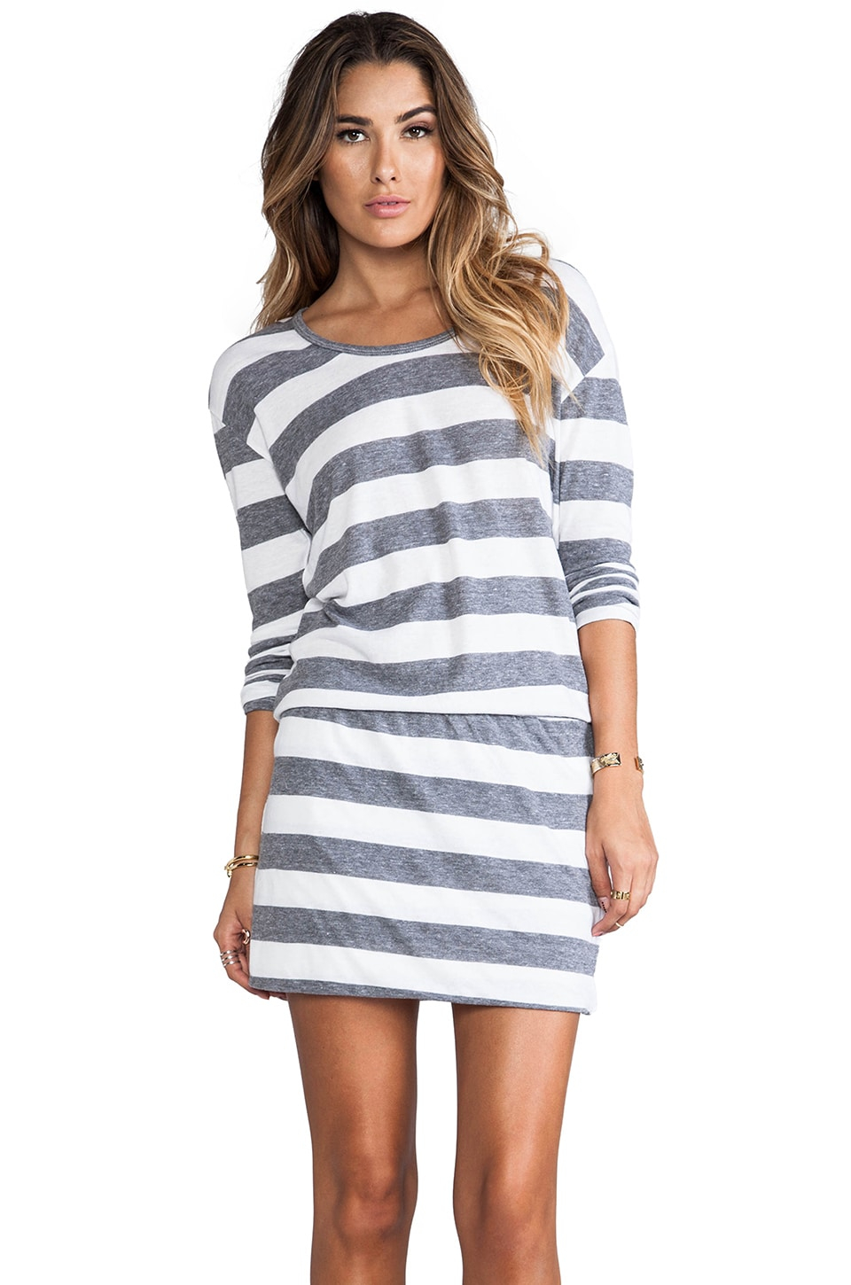 C&C California Long Sleeve Striped Blouson Dress in White