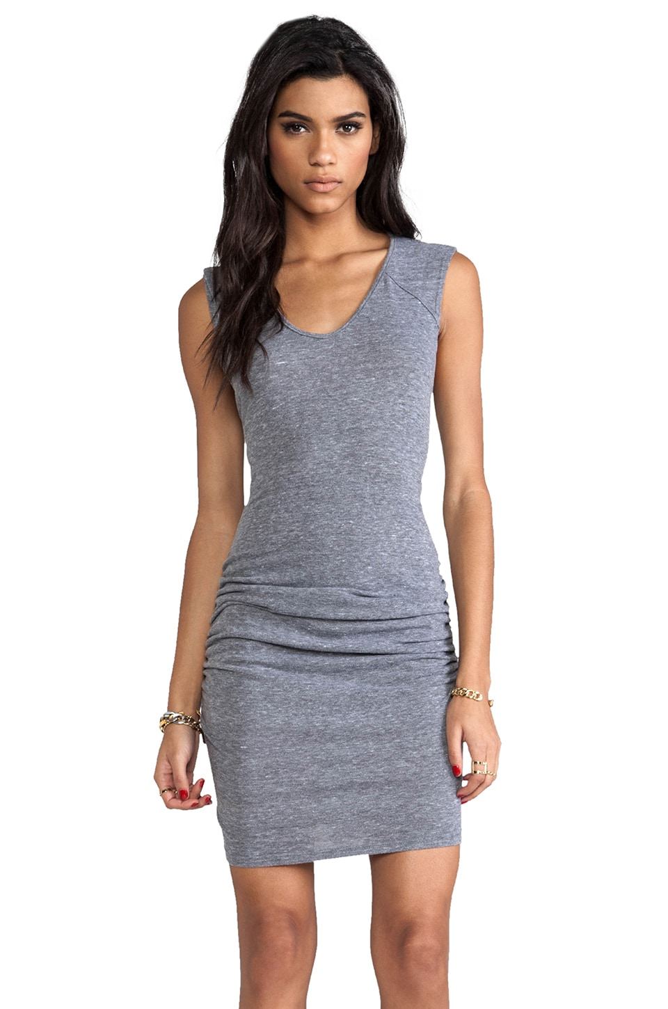 C&C California Muscle Tee Dress in Heather Grey