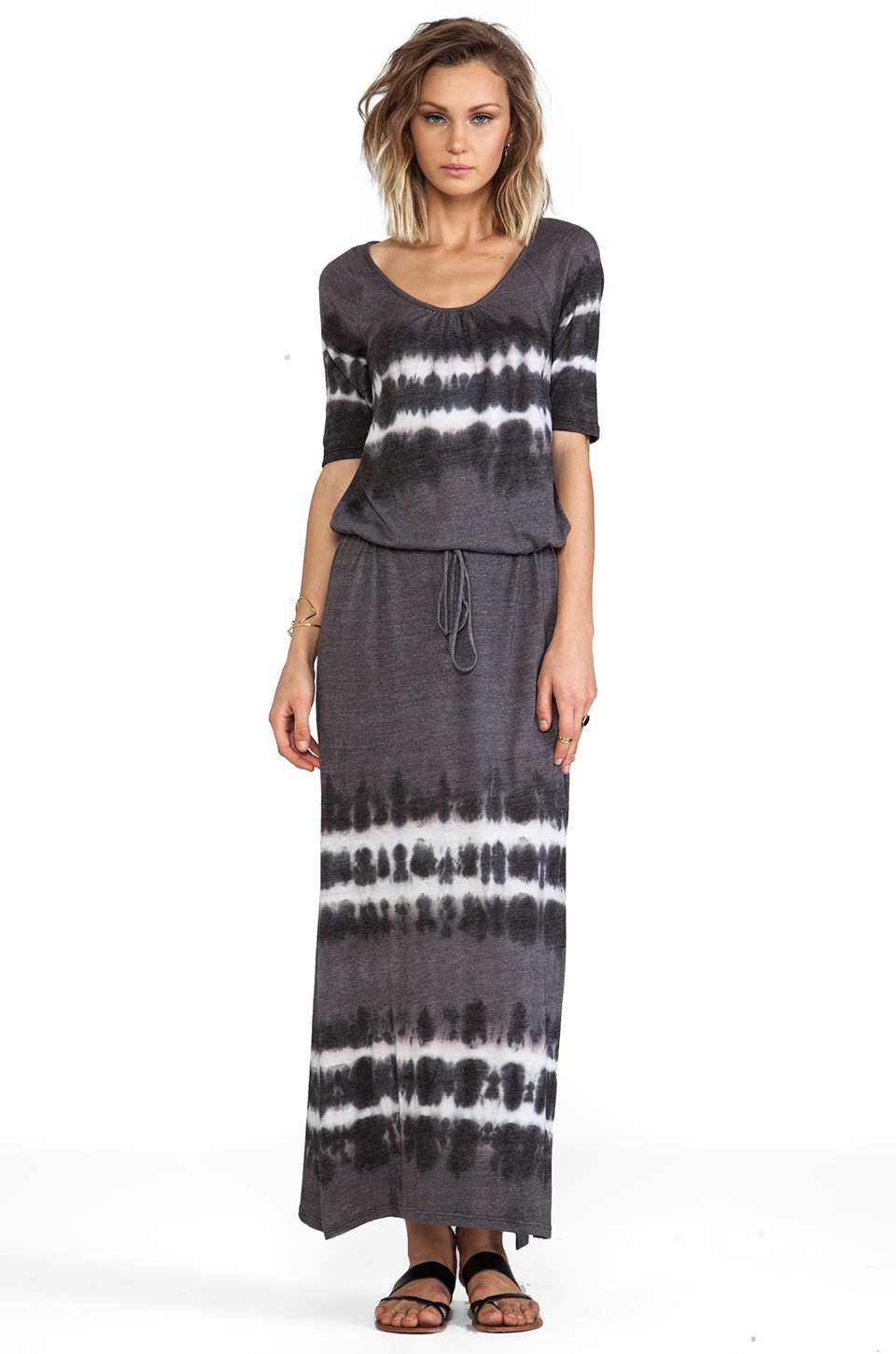 C&C California Elbow Sleeve Maxi Dress Tie Dye in Faded Black