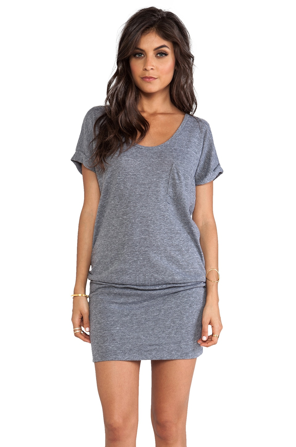 C&C California Short Sleeve Blouson Dress in Heather Grey