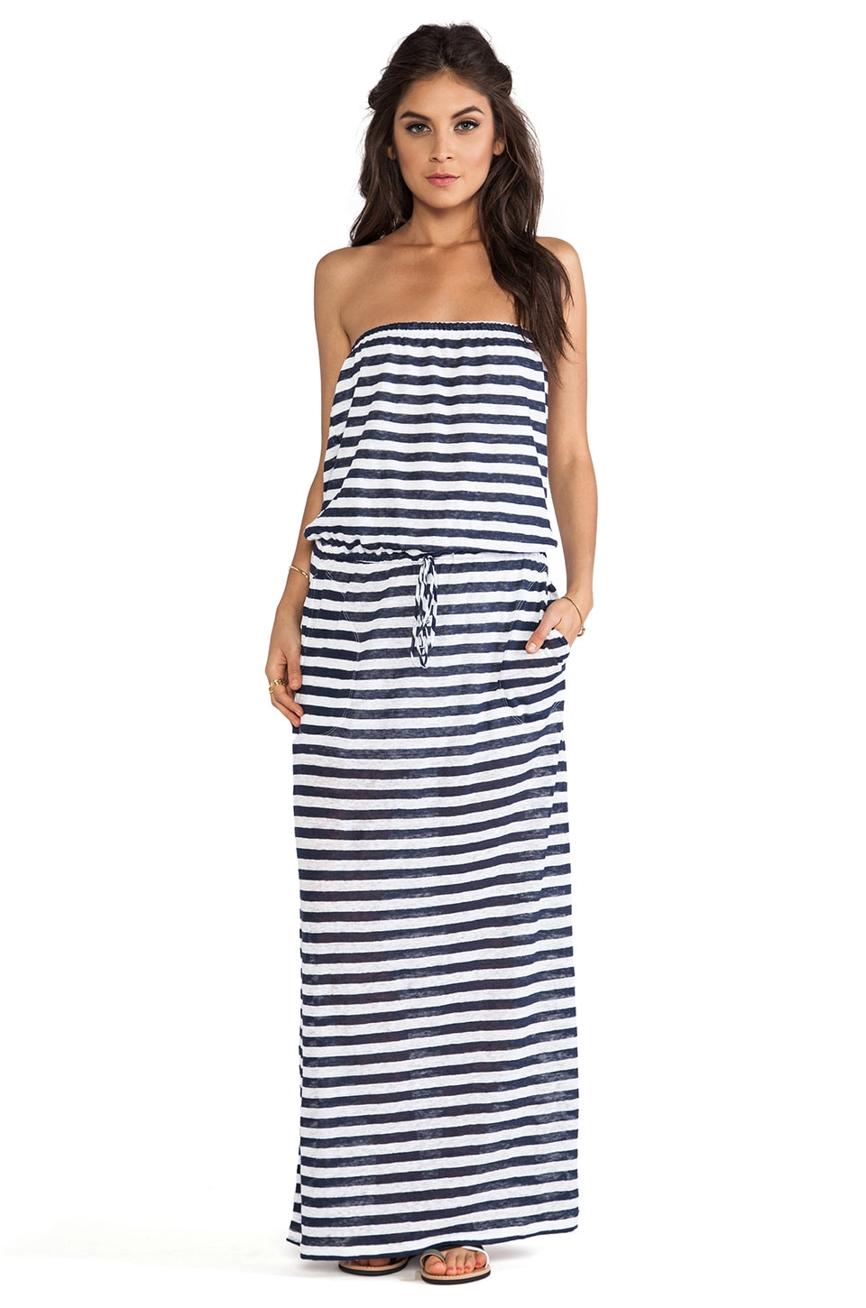 C&C California Striped Tube Maxi in Navy
